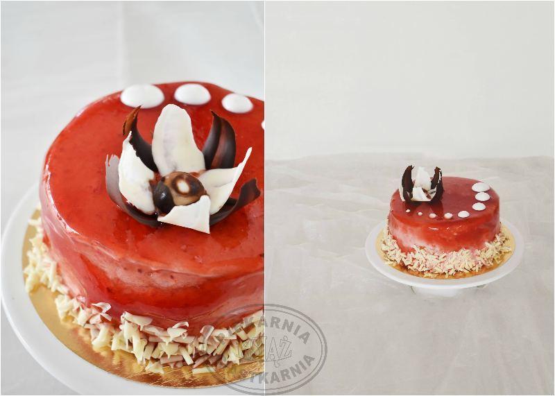 Tort wiśniowy T010 - jasny biszkopt przełożony śmietaną wiśniową