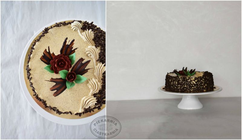Tort kawowy II T004- jasny biszkopt przełożony kremem kawowym i dżemem owocowym