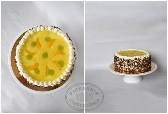 Tort ananasowy T001 - jasny biszkopt przełożony kremem ananasowym z kawałkami owoców ananasa, wykończony galaretką