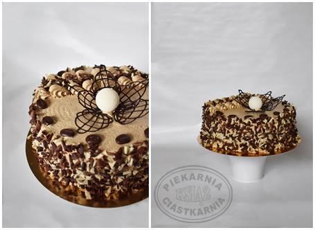 Tort kawowy I T002 - jasny biszkopt przełożony kremem kawowym i dżemem owocowym