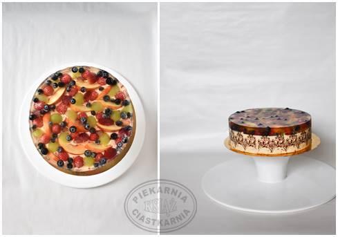 Tort Owocowy Ogród T003 - jasny biszkopt przełożony kremem malinowo-porzeczkowym na bazie śmietany, wykończony świeżymi owocami i galaretką