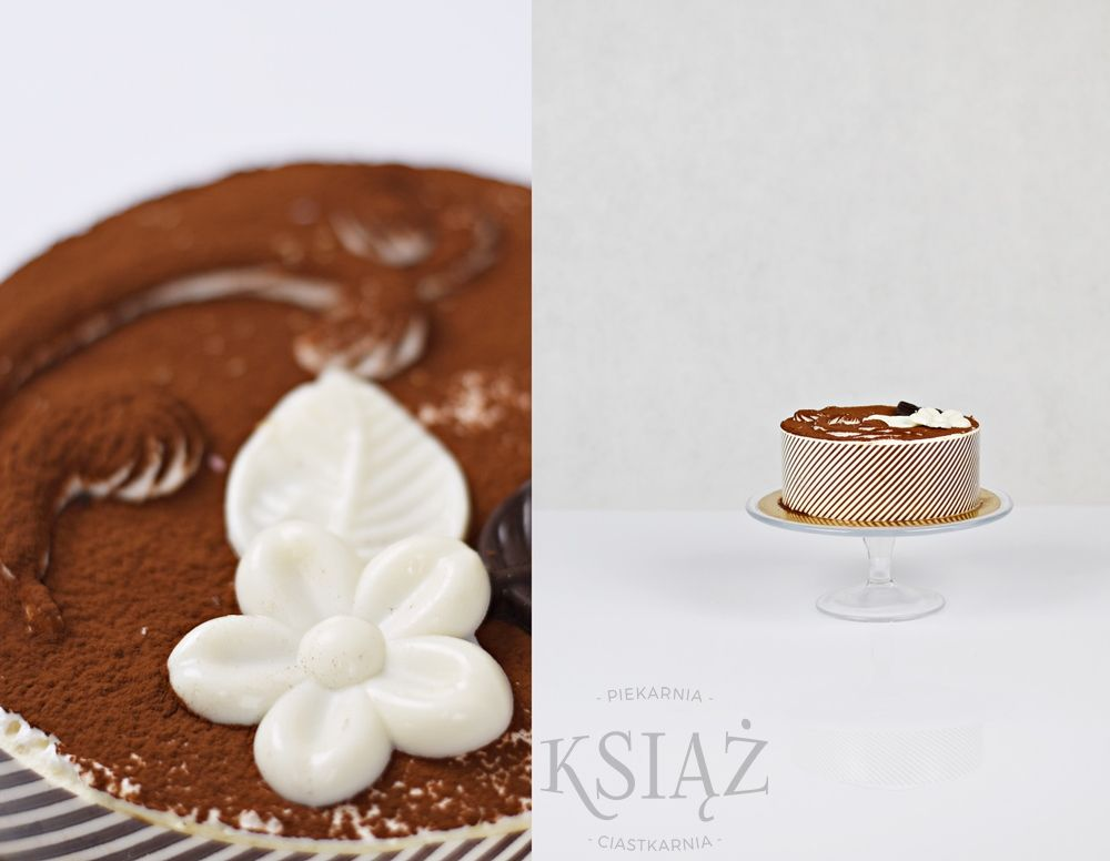 Tort mascarpone-tiramisu T027 - jasny biszkopt nasączony kawą, przełożony serkiem mascarpone